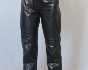 Vintage black leather high waist pants rocker Fab Fall Fashion 80's  size S by Berman's  leather trousers