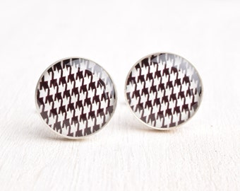 Houndstooth Pattern Cufflinks - Stainless Steel Black and White Print Cuff Links