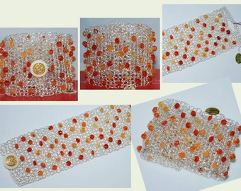 Crocheted Wire Gemstone Bracelet, Crocheted Wire Beaded Cuff Bracelet, Crochet Wire Bracelet, Crochet Wire Jewelry, Carnelian