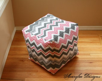 "Gray Pink Chevron Pouf Ottoman Chevron floor pouf, Square ottoman 16"", Childrens pouf, Chevron Floor Cushion, pouffe, nursery pouf, *Covers*"