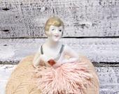 Vintage Half Doll Pin Cushion Art Deco Flapper Girl