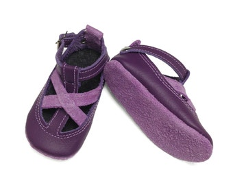 Purple and Mauve Leather baby shoes.  Baby sandals.  Summer baby shoes.