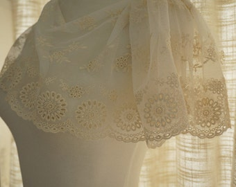 ivory fabric trim lace, embroidery lace trim in ivory