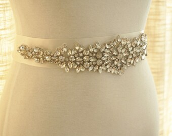 crystal bridal sash applique, rhinestone beaded applique for wedding belt, bridal sash,