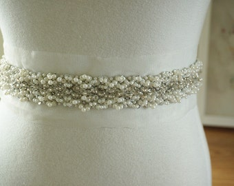 beaded rhinestone trim for bridal sash, wedding belt