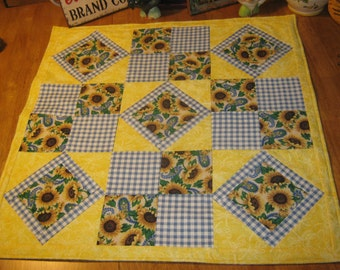 Primitive OOAK Quilt Pieced  Artist  X-Lg.  Square  SunFlower Table Runner Candle Mat Country Folk Art Primitive