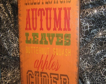 """Happy ThanksGiving Sign Primitive Lg Holiday Wood  Halloween Salem Witch   """" AUTUMN Leaves Apples Pumpkins  """" Subway Country  Rustic Folkart"""
