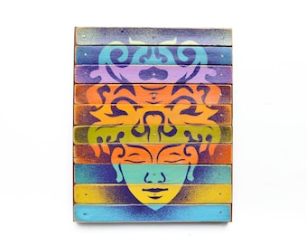original buddha art on wood  by Elizabeth Rosen