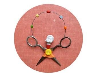 little JUGGLER, original art doll ornament, found object art, mixed media assemblage, by Elizabeth Rosen
