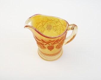 Vintage  Carnival Glass Creamer, Marigold Lustre Vine Grape Small Pitcher, Carnival Glass, UK Seller