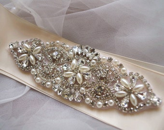 reserved for L - rhinestone applique, crystal applique, pearl beaded rhinestone applique, bridal sash applique