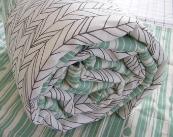 Baby Bedding  -Teal Woodgrain - Woodland Feather- Infant or Toddler Blanket