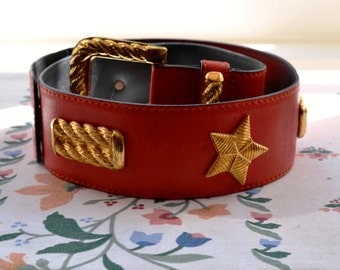 Vintage ESCADA Belt - 80s, leather, cerise, red, gold tone embellishments, stars, size 34, small