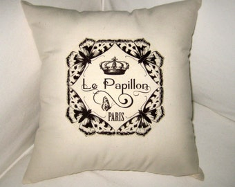 Paris Inspired Butterfly Pillow with Crown, French Le Papillon Cushion, Butterflies, Neutral Country Farmhouse Home Decor, French Words