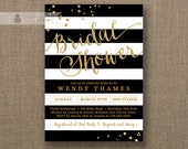 Black & White Stripe Bridal Shower Invitation Gold Glitter Dots Modern Script Classic FREE PRIORITY SHIPPING or DiY Printable - Wendy