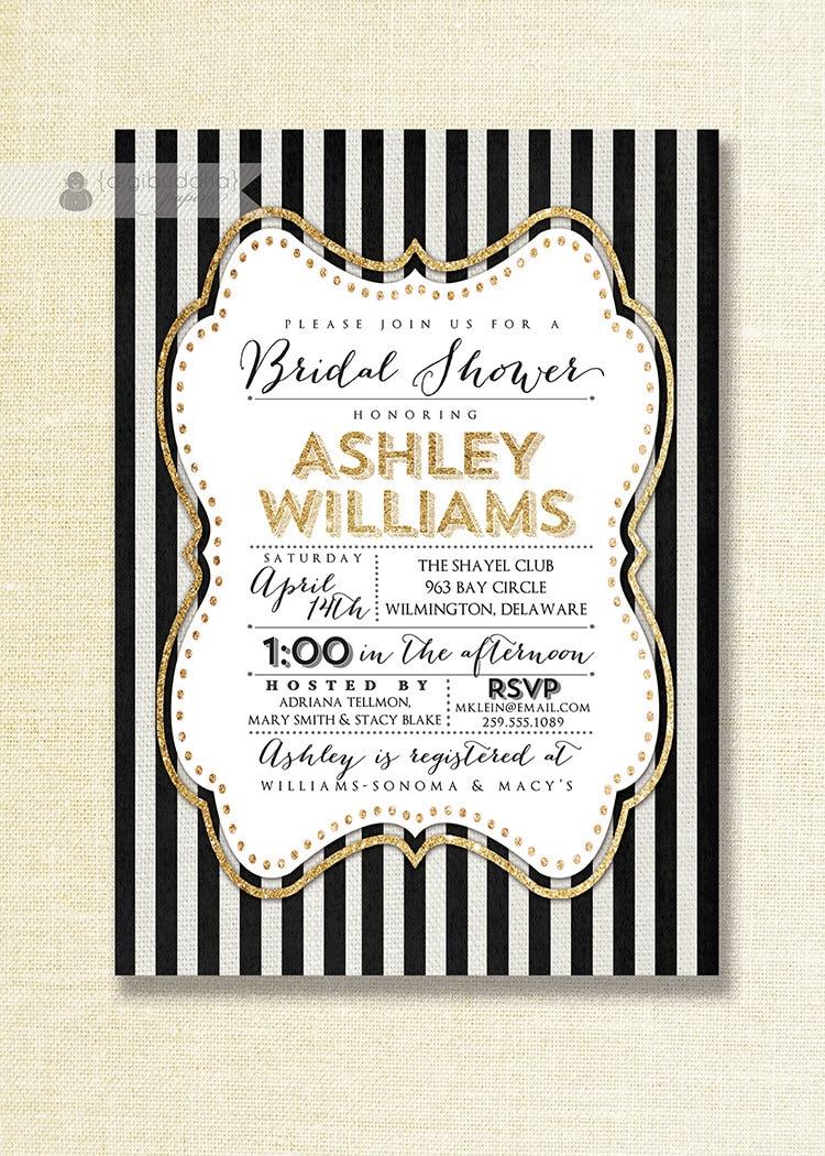 Gold black white bridal shower invitation gold glitter for Black and gold wedding shower invitations