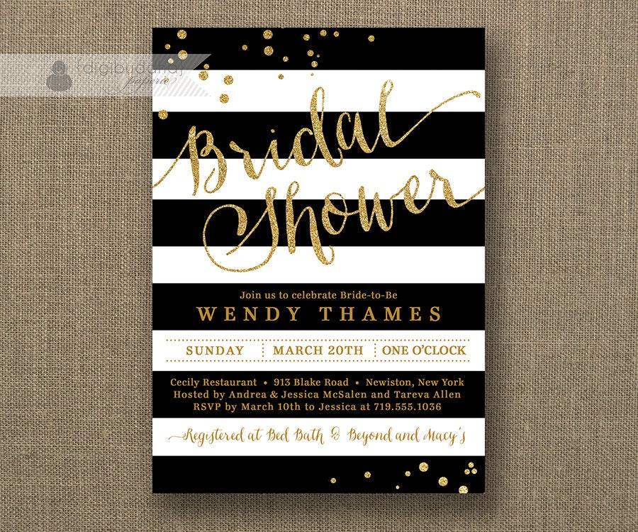 Black white stripe bridal shower invitation gold glitter for Black and white bridal shower invitations