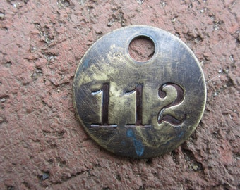 Vintage Brass Tag Number 112 Vintage Industrial Tag Lucky Number Token Old ID Tag Great for Keychain Key Chain Car Keys House Number Tag Old