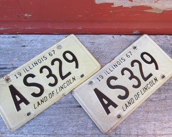 Matched Set Vintage Metal License Plates 1967 Off White & Black Restoration 1960s 60s Era Hot Rod Muscle Car Illinois Rusted Distressed
