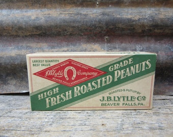 Antique Paper Cardboard Box Advertising J.B. Lytle Company Good Luck Brand Horse Roasted Peanuts Beaver Falls PA Vintage Display Collectible
