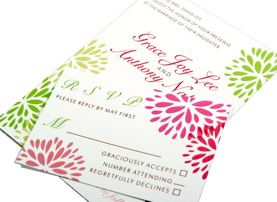 Modern Flower Blossom Wedding Invitation, Floral Customizable