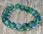 Blue Green Bead 8mm Melon Czech Glass DEEP SEA (20)