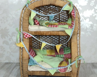 Doll Bed Bunk Bed With Patchwork Quilts Matching Bunting