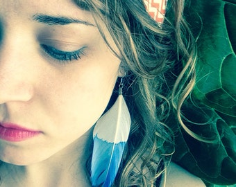 Indigo Dipped Feather Earrings