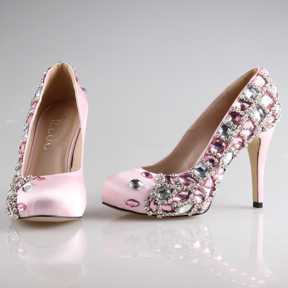 light soft pink wedding shoes rhinestone by