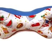 Patriotic Dog Bone Shaped Neck Pillow with blue fleece & fun cotton print fabrics with handles