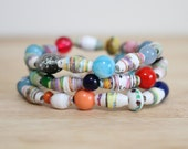 Rainbow Colored Recycled Paper Bead Bracelet Made From Children Book Pages, Elementary School Teacher, Teacher Gift, Kindergarden Teacher