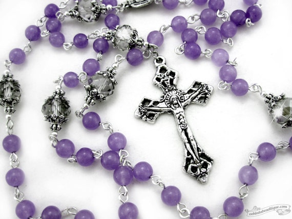 purple rosary lavender rosary catholic rosary confirmation