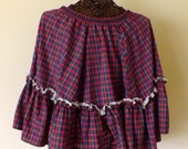 Plus Size Vintage Rockabilly Skirt/Rockmount Plaid Circle Skirt/Size 22/Free Shipping/Wear it as a cape!