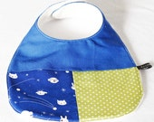 Baby bib - space animals, blue, green, limited edition (UK seller)