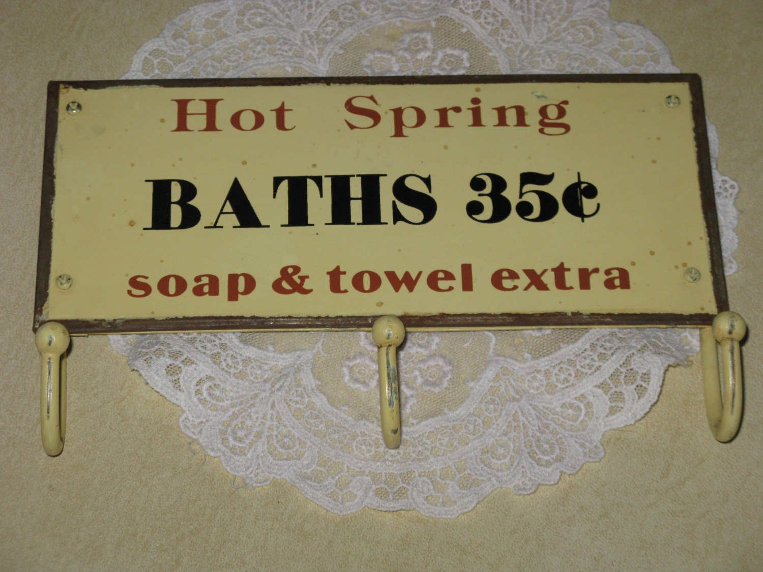 Tin Sign Hot Spring BATHS With Towel Hooks For Bathroom Or