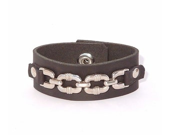 Plain leather bracelet,  3/4 inch wide with metal chain