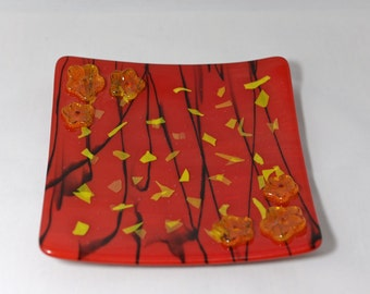 Fused Glass Plate - Red and Yellow with Flowers