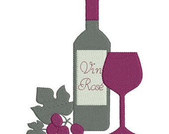 Instant download bottle of wine glass grapes embroidery design machine applique