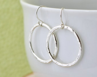Sterling Silver Circle Earrings, Dangle Earrings, Silver Earrings, Hammered Jewelry, Open Circle Earrings, Metalwork Jewelry