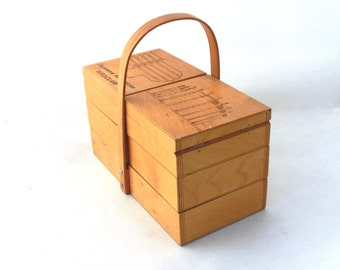 Vintage wooden sewing storage box 80s, Wooden storage box, Organizer for home, Xmas gift, Home decor, Collectibles