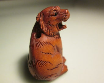 "NETSUKE BEAD TIGER 1"" mini bead fine carving super small detail a must have for tiger lovers grrrrrr"