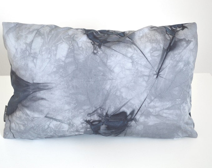 Charcoal Grey Shibori Pillow Cover 12x18 inches - Slate