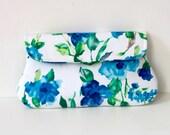 Floral Blue Clutch, Bridesmaid clutch, summer wedding clutch, Blue and white clutch purse
