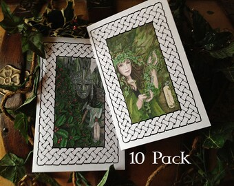 Holly & Ivy Yule Holiday Card 10 Pack, Your Choice of Art
