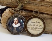 William Shakespeare Necklace - Poetry Quote Necklace - DOUBLE-SIDED Pendant W/ Chain in Bronze - Shakespeare in Love
