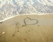 Heart in the Sand Love Beach Sandy Beach Waves Summer Photo Nautical Romantic Romance Love, Fine Art Print