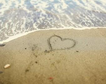 Heart in the Sand Love Beach Sandy Beach Waves Summer Photo Nautical Romantic Romance Love, Fine Art Print