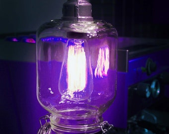 Wall  Light. Lamp. Hinged lid glass jar with vintage style Edison bulb. Sconce.