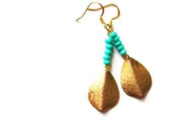 Tribal Gold and Turquoise Earrings