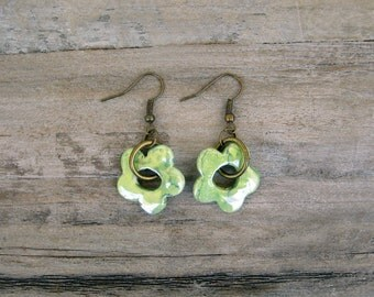 Green Flower Earrings, Ceramic Earrings, Dangle Earrings, Clay Earrings
